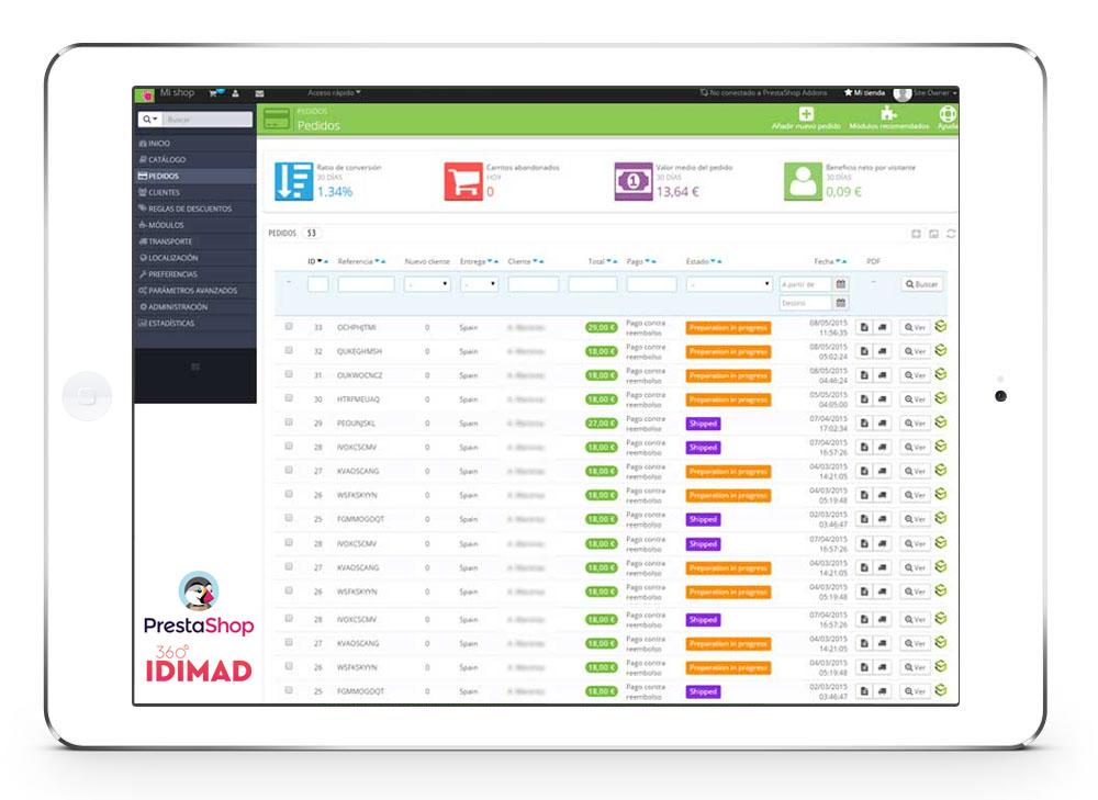 Idimad 360 Agencia de Marketing Digital y Tecnología en Salamanca tiendas online e-commerce con Prestashop